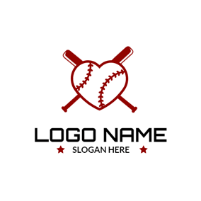 Unique Red Heart and Baseball logo design