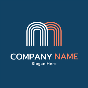 Unique White and Orange Letter M logo design