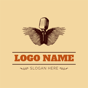 Unique Wings and Antique Microphone logo design