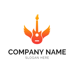 Unique Wings and Guitar Outline logo design