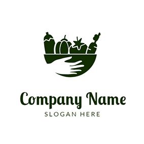 Vegetable Bowl Hand Harvest logo design