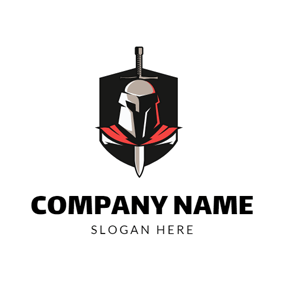 Vertical Sword and Brave Warrior Badge logo design