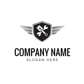 Vintage Badge and Piston logo design