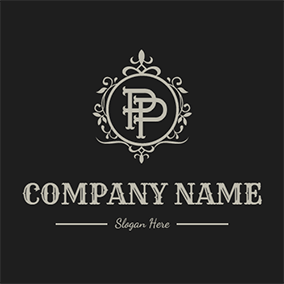 Vintage Decoration Letter P P logo design