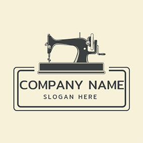 Vintage Sewing Machine Handmade logo design