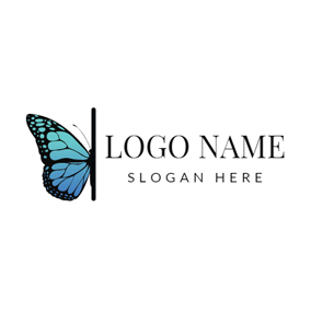 Visual Blue Butterfly logo design