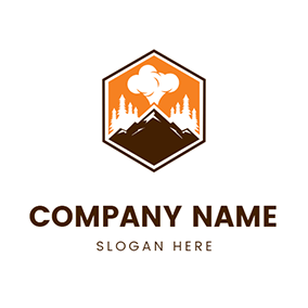 Volcano and Hexagon logo design