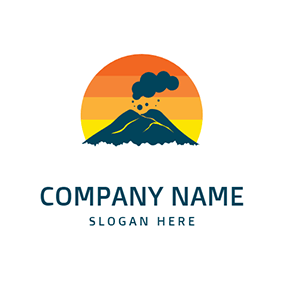 Volcano and Sun logo design