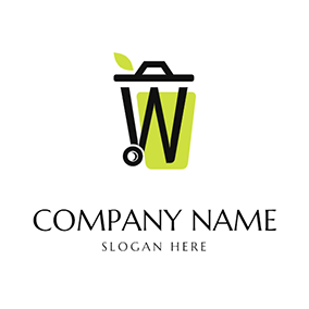 W Shape Trash Can logo design