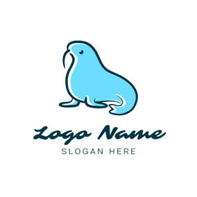 Walrus Ivory and Blue Seal logo design