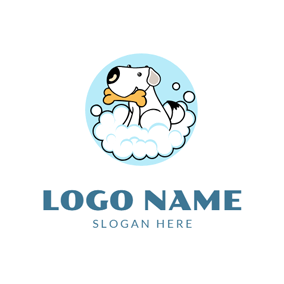 Water Bubble and Cute Dog logo design