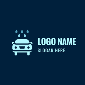 Water Drop and Blue Car logo design