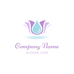 Water Drop and Lotus logo design