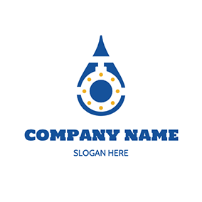 Water Drop Valve Pipeline logo design