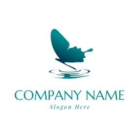 Water Wave and Butterfly logo design