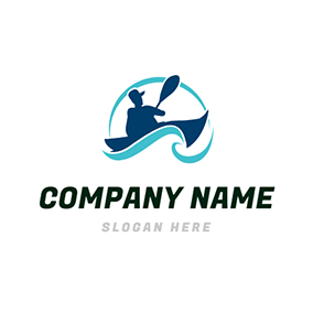 Water Wave and Kayak Sportsman logo design