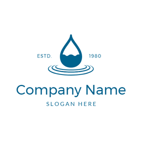Water Wave and Water Drop logo design