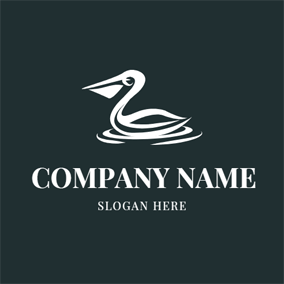 Water Wave and White Pelican logo design