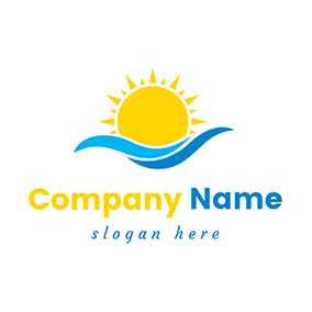 Water Wave and Yellow Sun logo design