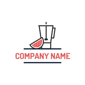 Watermelon Slice and Blender logo design