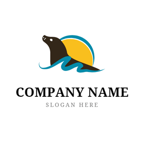 Wave and Sea Seal logo design