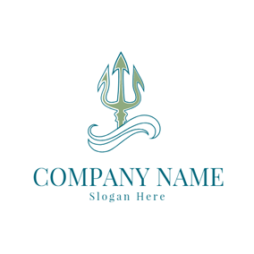 Wave and Trident Symbol logo design