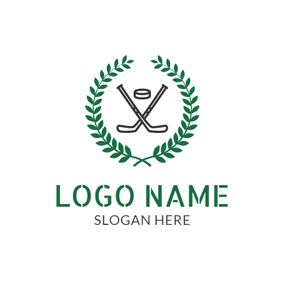 Wheat and Hockey Badge logo design