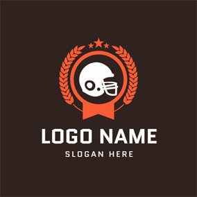 Wheat Encircled Football Helmet logo design