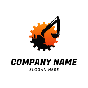 Wheel Gear and Excavator logo design