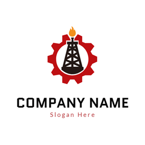 Wheel Gear and Gas Rig logo design