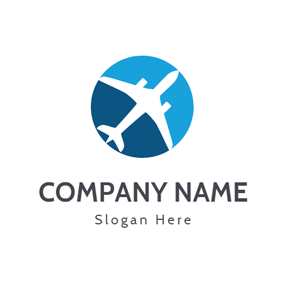 White Aeroplane and Green Sphere logo design