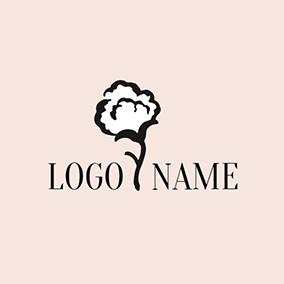 White and Black Cotton Flower logo design