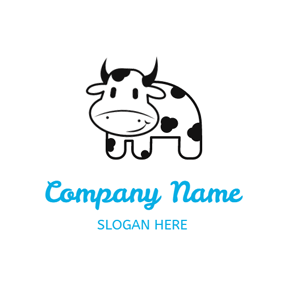 White and Black Dairy Cow logo design