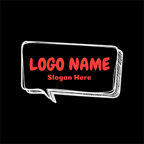 White and Black Dialog Box logo design