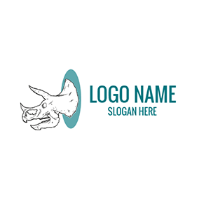 White and Black Dinosaur Head logo design