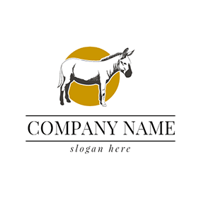 White and Black Donkey Icon logo design