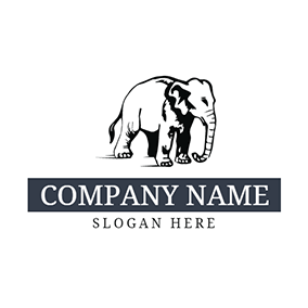 White and Black Elephant logo design