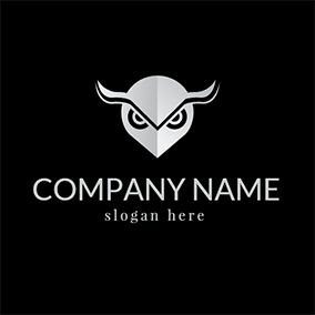White and Black Owl Head logo design