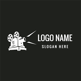 White and Black Video Icon logo design