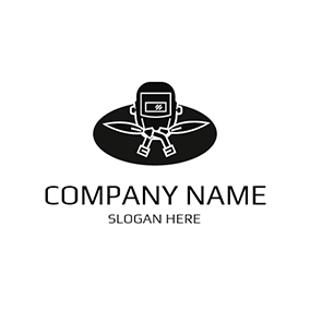 White and Black Welding Equipment logo design