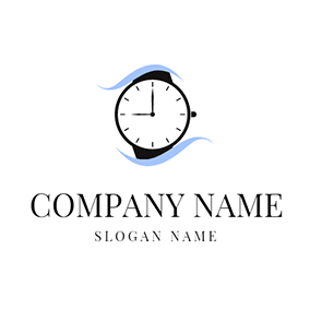 White and Black Wrist Watch logo design