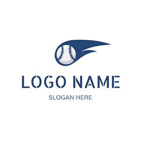 White and Blue Baseball logo design