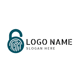 White and Blue Fingerprint Lock logo design