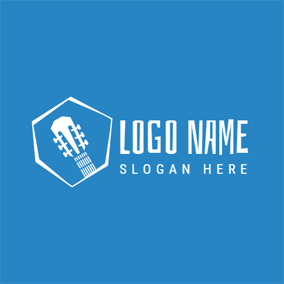 White and Blue Guitar logo design