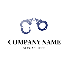 White and Blue Handcuff logo design