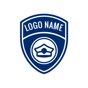 White and Blue Police Badge logo design