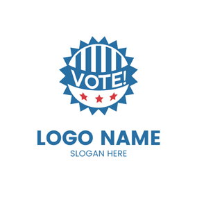 White and Blue Political Icon logo design