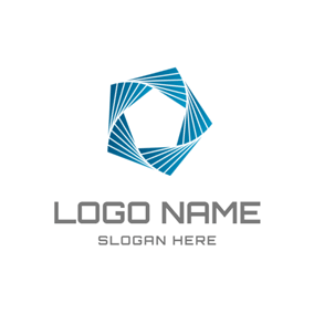 White and Blue Polygon Icon logo design