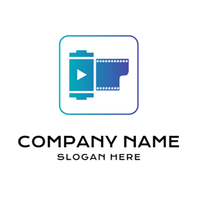 White and Blue Square and Film logo design