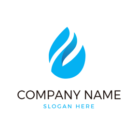 White and Blue Water Drop logo design